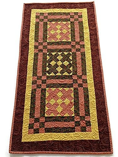 Earthtone Quilted Table Runner- Brown, Tan, Green, Rust