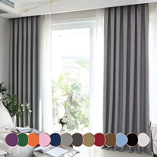 Leadtimes Grey Grommet Blackout Curtains 102 Inches Long Full Room Darkening Grommet Window Drape
