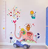 StylishWalls Kids Wall Stickers I Height Chart Wall Sticker fKids I Cute Elephant Wall Stickers I Beautiful Party Theme Bedroom, Living Room (PVC Vinyl, Pink Peach, Self-Adhesive,Large)