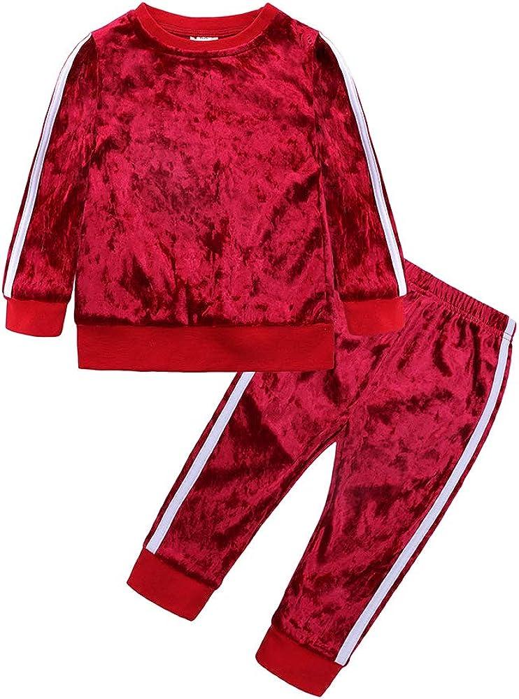 Mary ye 2Pcs Fashion Toddler Baby Girl Velvet Sweatshirt Tops Pant Set Tracksuit