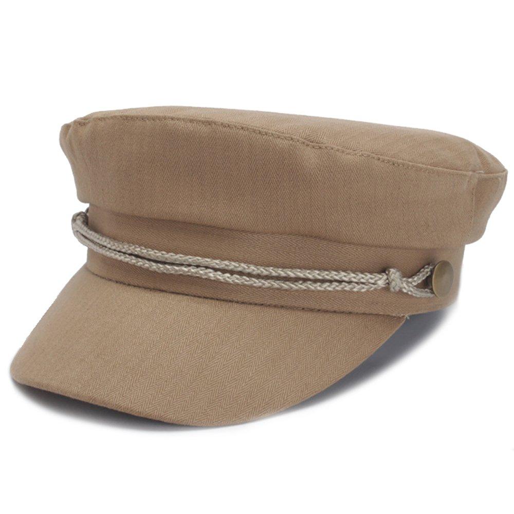 Classic Spring Summer Womens Newsboy Cap Cotton Cabbie Ivy Beret Hats for Women (Khaki)