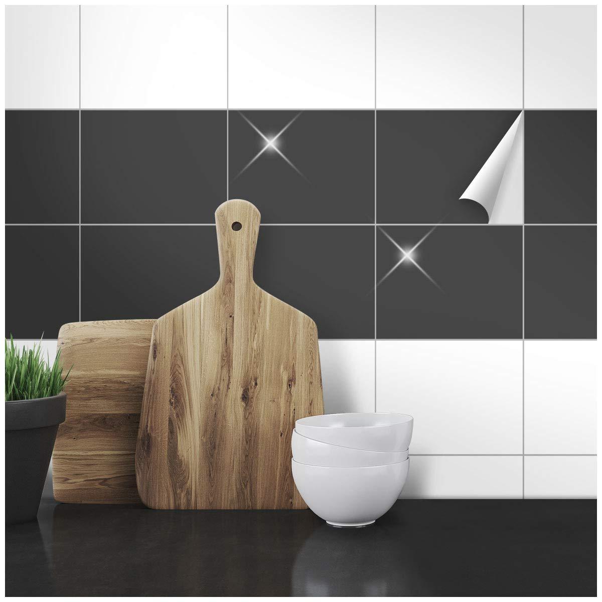 Wandkings Fliesenaufkleber - Wähle eine Farbe & Größe - Anthrazit Glänzend - 14,7 x 19,7 cm - 100 Stück für Fliesen in Küche, Bad & mehr