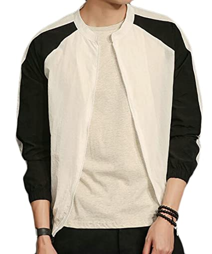 30fb9baa019 KLJR-Men Summer Color Block Thin Light Weight Flight Bomber Jacket at  Amazon Men s Clothing store