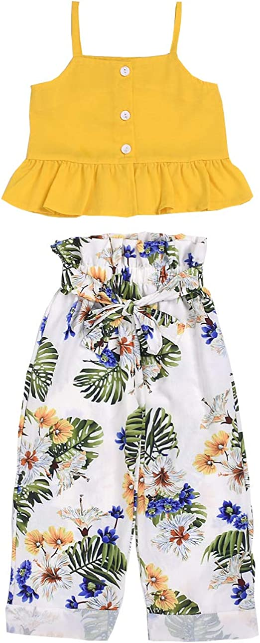 Girls 2 Pieces Dress Set Floral Dress Solid Ruffle Legging Clothing Set 2T-8