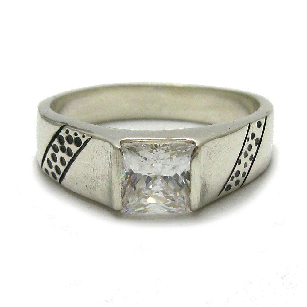 Anello da uomo in argento sterling massiccio 925 con zirconi quadrati 6x6mm R001773