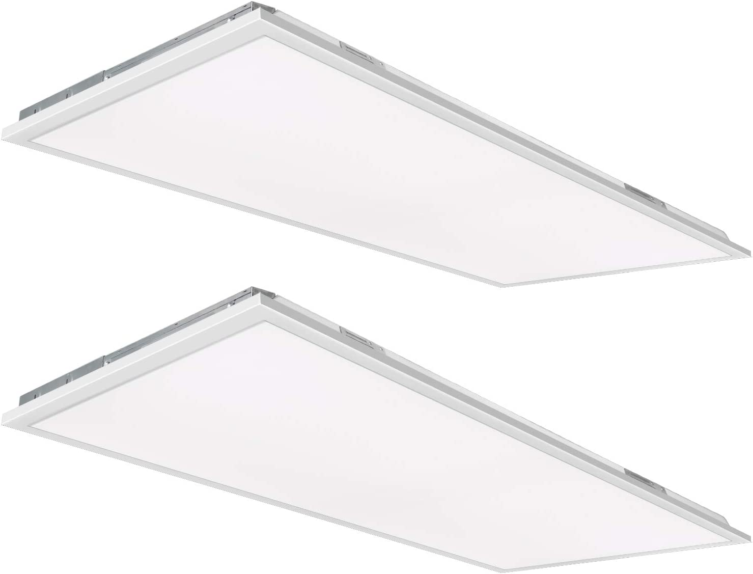 2x4 FT White LED Flat Panel Troffer Light, 50W 4000K Recessed Back-Lit Drop Ceiling Light, 5250lm Lay in Fixture for Office, 0-10V Dimmable, 3-Lamp F32T8 Fixture Replacement, 2 Pack