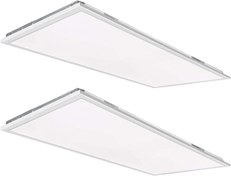 Hykolity 2x4 FT White LED Flat Panel Troffer Light, 50W 5000K Recessed Back-Lit Drop Ceiling Light, 5500lm Lay in Fixture for Office, 0-10V Dimmable, 3-Lamp F32T8 Fixture Replacement, 2 Pack