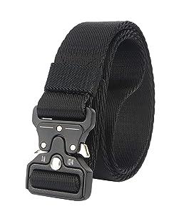Cinturón Táctico de Hombres, Estilo Militar Cinturón de Nylon con Hebilla Metal de Liberación Rápida,Negro,L*W:49 Pulgadas*1.25 Pulgadas