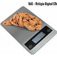 Balança digital de precisão cozinha e comércio 1g a 5 kg Slim com relógio CBRN02597