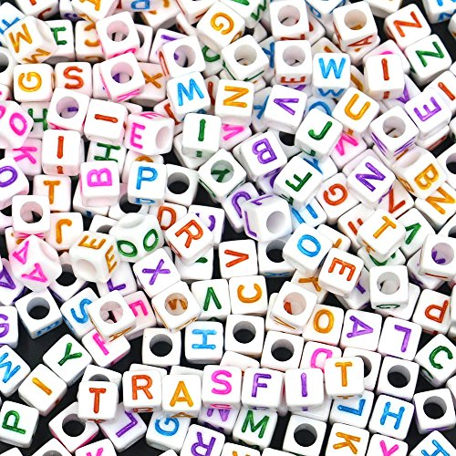 (Trasfit 600 Pieces 6mm White Colorful Acrylic Alphabet Letter A-Z Cube Beads for jewelry making, Bracelets, Necklaces, Key Chains and Kids Jewelry)