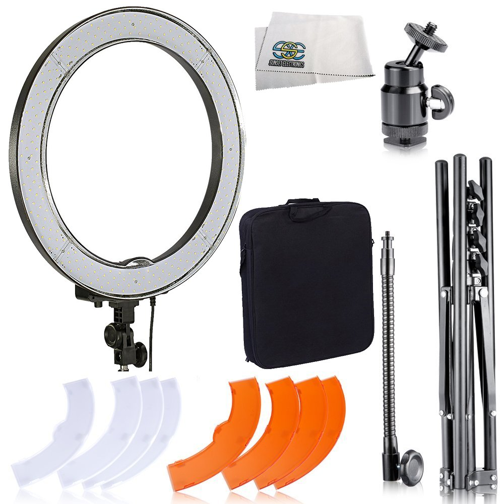 Ultimaxx Camera Photo/Video 18''/ 48cm Outer 55W 240PCS LED SMD Ring Light 5500K Dimmable Ring Video Light with Plastic Color Filter Set + Mini Ball Head Hot Shoe Mount Adapter by Ultimaxx
