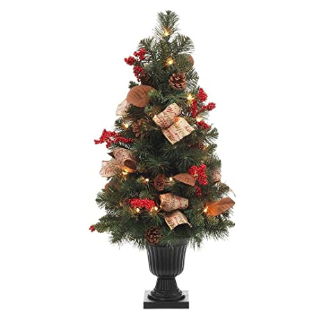 natural pine potted artificial christmas tree with pinecones red berries and burlap - Potted Artificial Christmas Trees