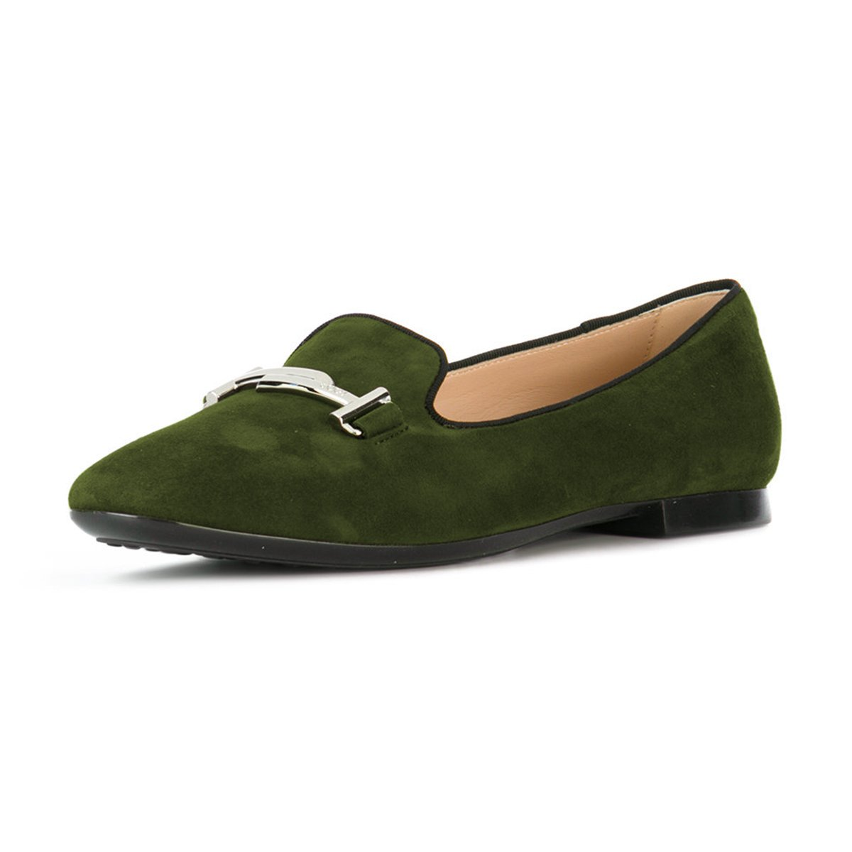 XYD Comfortable Low Heel Slip On Suede Flats Pointed Toe Ballet Loafer Dress Shoes for Women B0794R5M2X 7 B(M) US|Dark Green