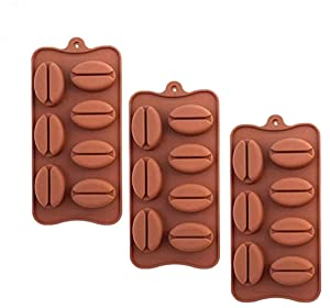 3 Pack X Coffee Bean Shape Ice Cube Chocolate Fondant Soap Tray Mold Silicone Party Maker (SHIPS FROM USA)
