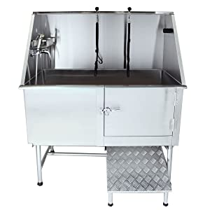 """Flying Pig Grooming 50"""" Professional Stainless Steel Pet Dog Grooming Bath Tub with Faucet, Walk-in Ramp & Accessories"""