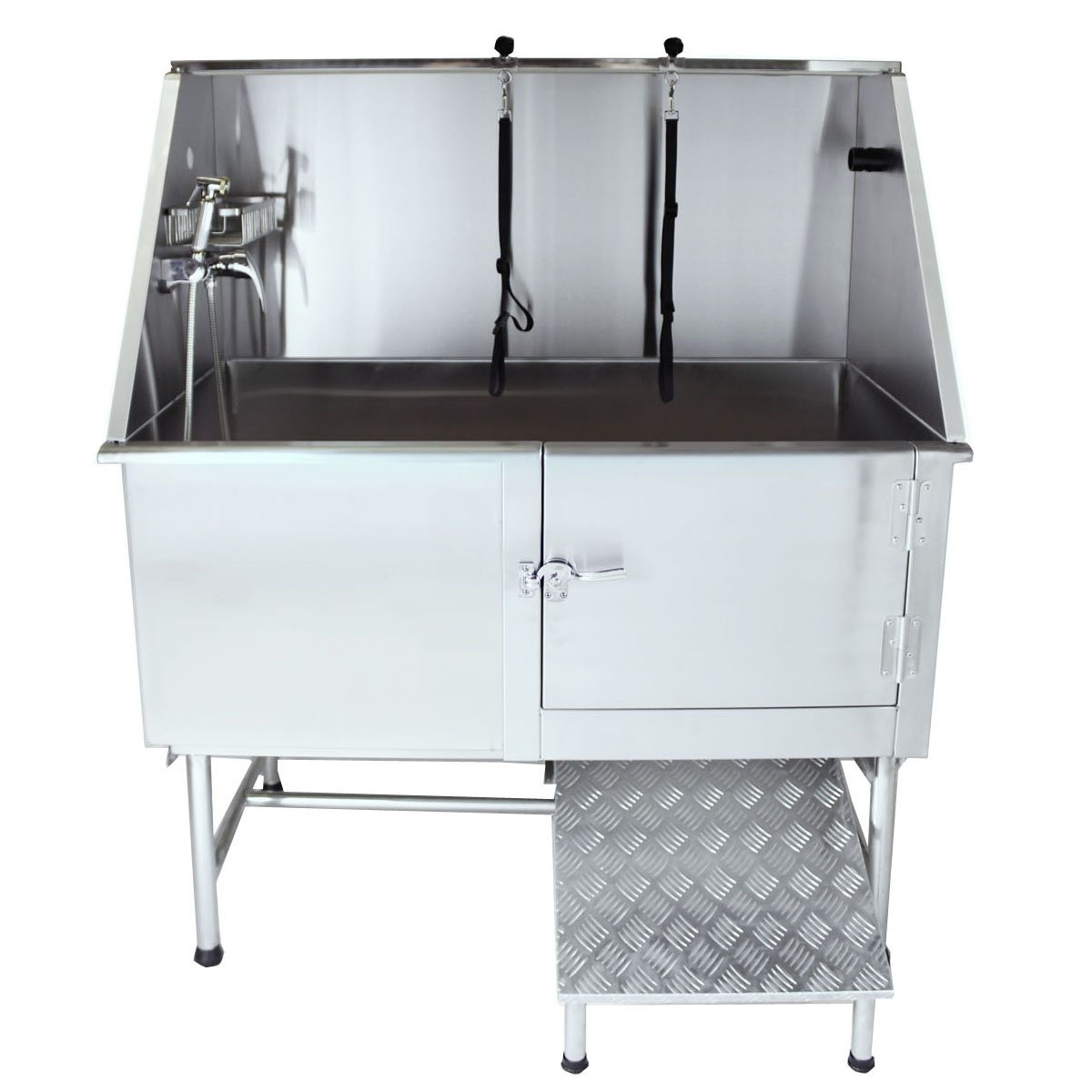 Flying Pig Grooming 62'' Stainless Steel Pet Dog Bath Tub with Faucet (Right door/Left Drain), 62 x 27 x 58''