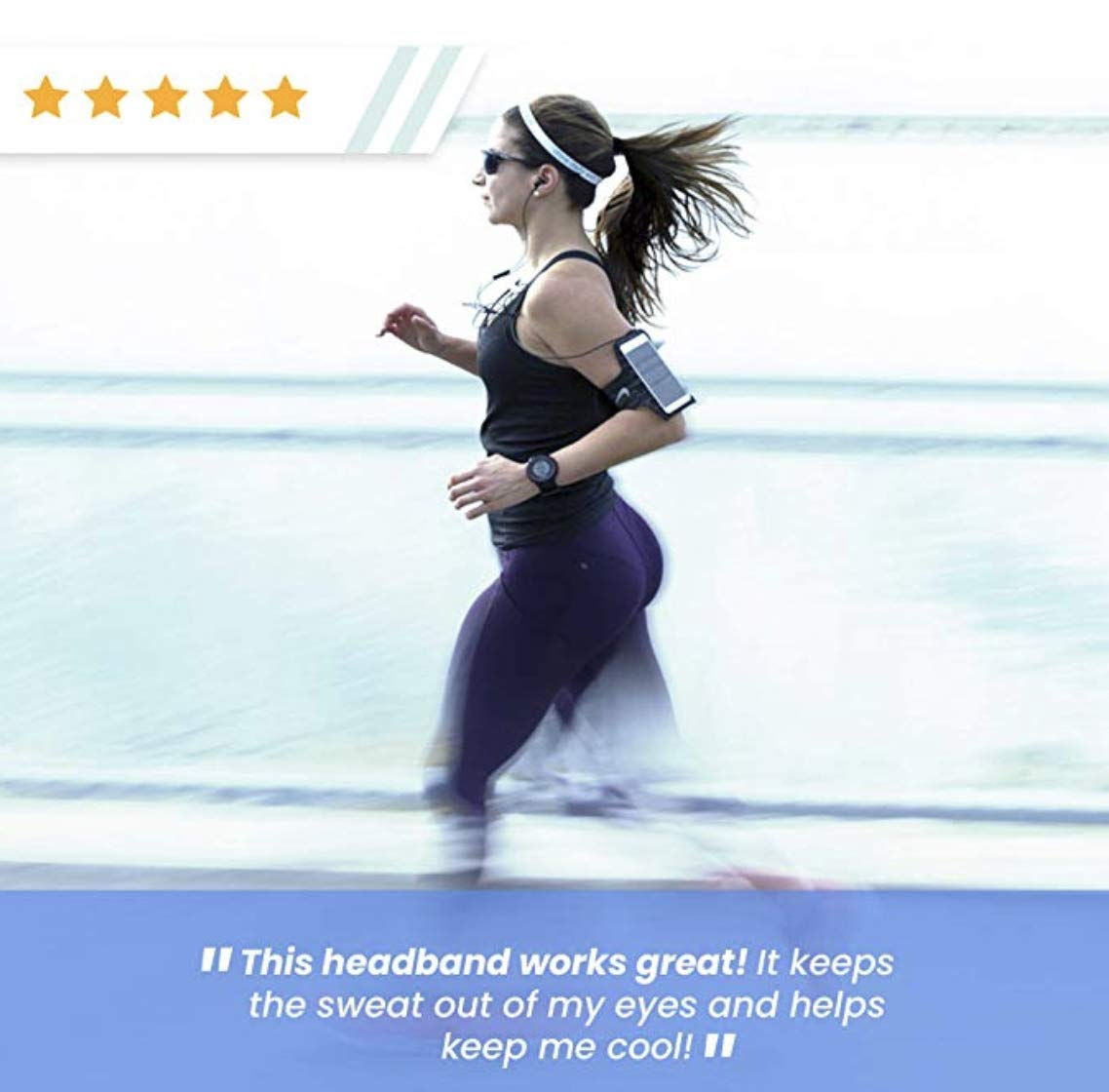 Cooling Headbands for Women | Moisture Wicking Womens Sweatband & Sports Headband | Stay Cool During Workouts Cycling Cardio Running Yoga | Headwear for Under Helmets & Hats (Sailer Jane) by Bani Bands (Image #5)