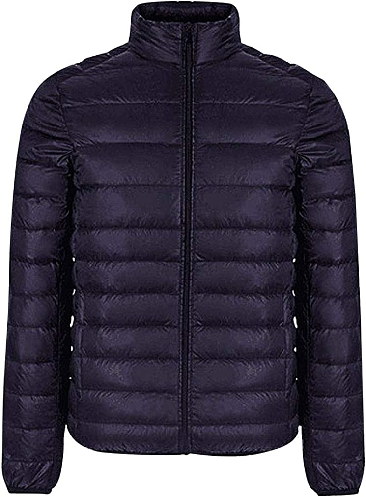 Mancave Men Solid Color Stand Collar Zip Up Quilted Light Short Duck Down Jacket