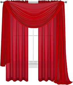 Drape/Panels/Scarves/Treatment Beautiful Sheer Voile Window Elegance Curtains Scarf for Bedroom & Kitchen Fully Stitched and Hemmed, Set of 3: Panels 2 + 1 Scarf (Red, 3 Piece Panels+Scarf)