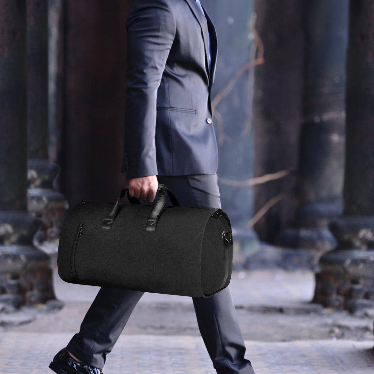 Carry-on Garment Bag Suit Travel Bag Duffel Bag Weekend Bag Flight Bag Gym Bag - Black by UNIQUEBELLA (Image #8)