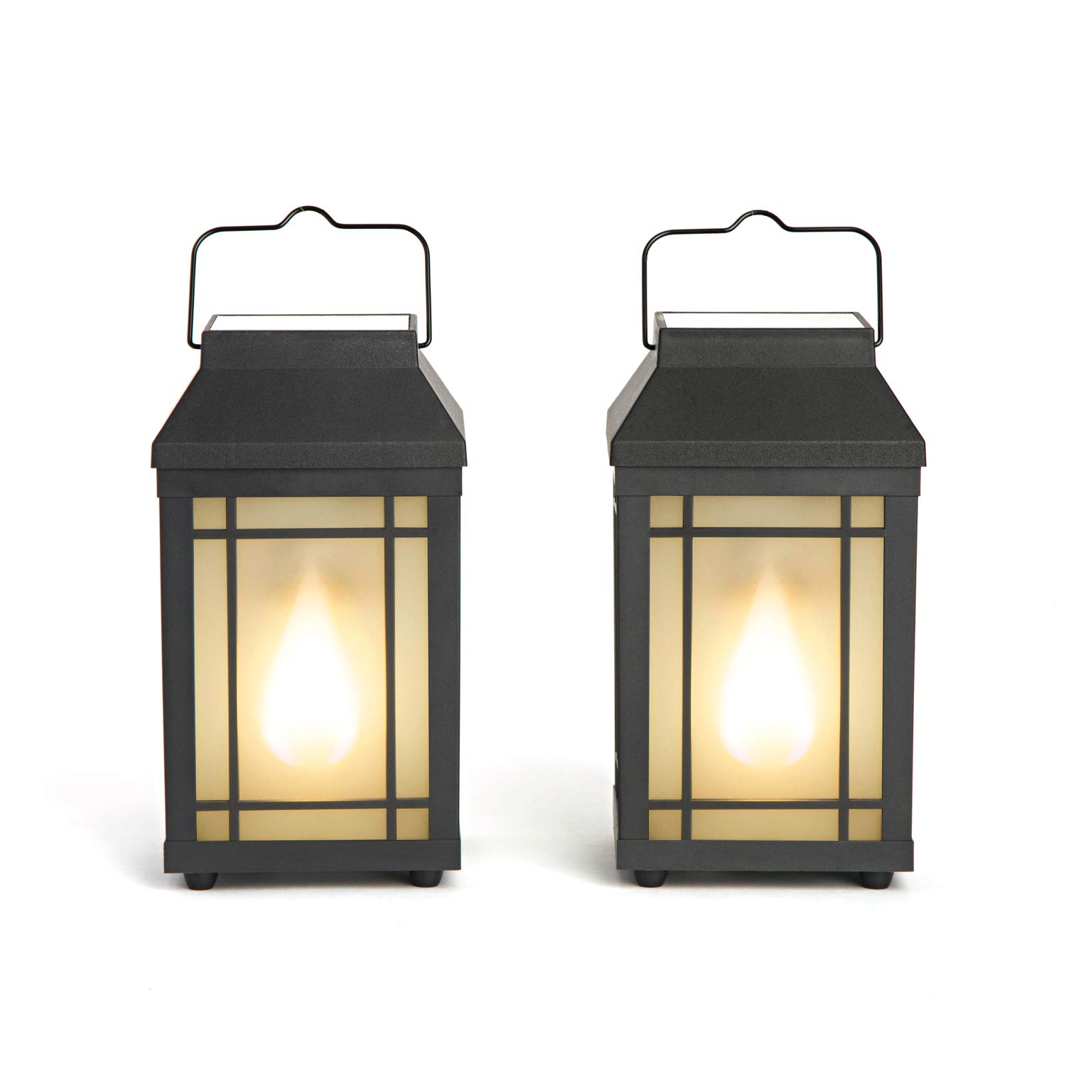 Outdoor Solar Lanterns with Flickering Flame - Set of 2 Solar-Powered Pathway Lights, Realistic Torch Fire Effect, for Decorative Outdoor Lighting by LampLust