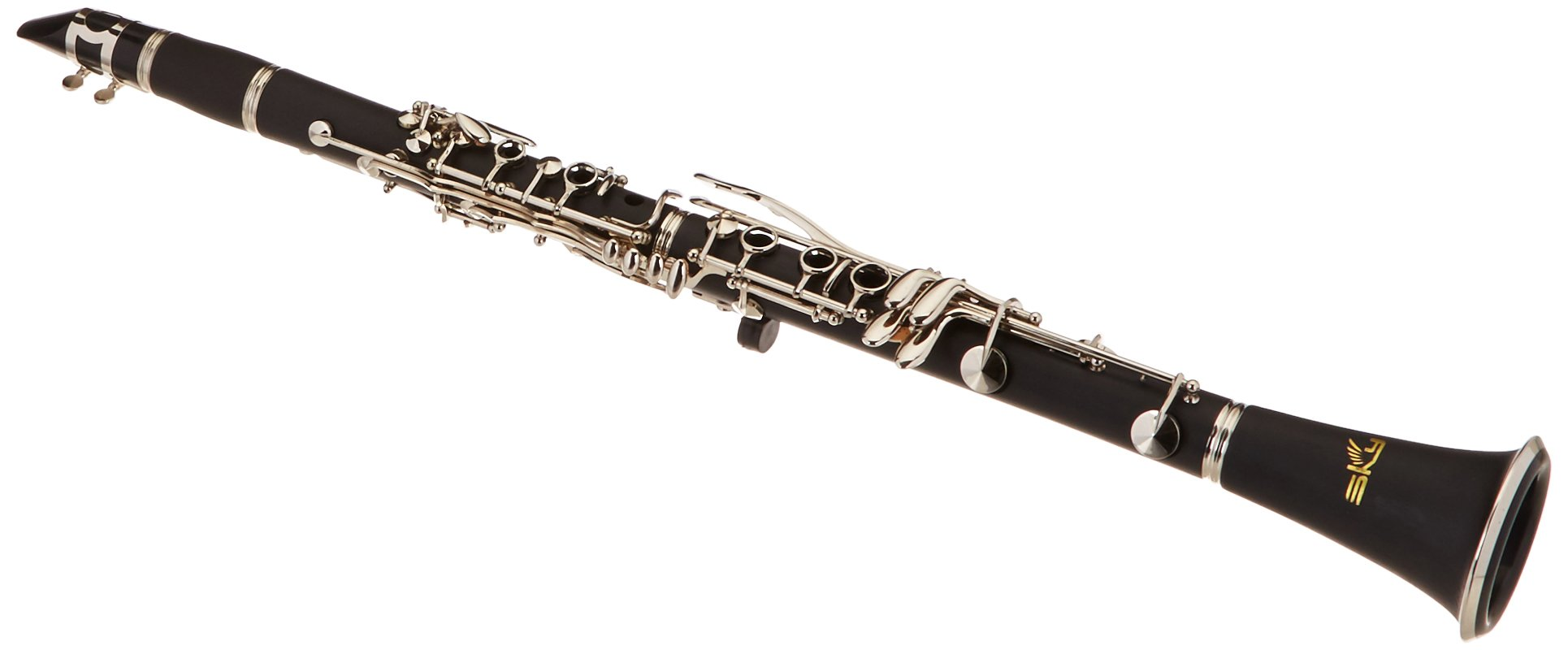 Sky Band Approved SKY-CLEBI-001 Black Ebonite B-flat Clarinet with Case, Mouthpiece, 10 Reeds, Cork Grease and Cleaning Cloth SOUND GUARANTEED
