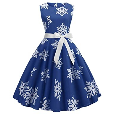 581e9af356da Christmas Dress,POTO Women Ladies Christmas Snow Printing Vintage Gown  Party Dress Prom Swing Dress
