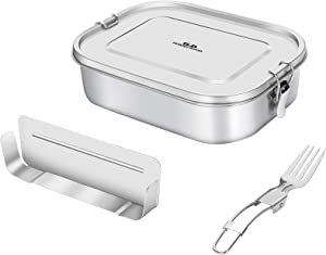 Leakproof Bento Lunch Box, Divided Stainless Steel Lunch Box with Portable Fork for Teenagers and Adults, 47oz/1400ml Food Container Two Removable Compartment,Dishwasher Safe