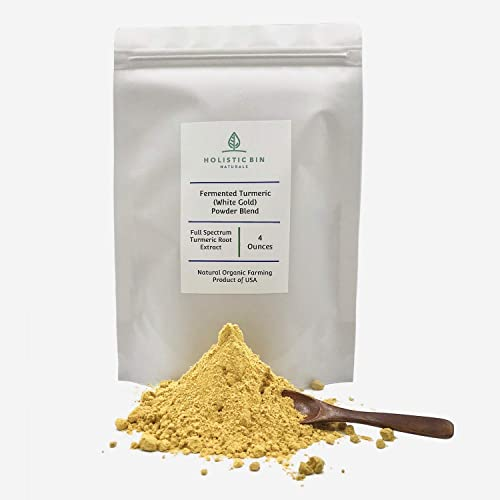 Organic Fermented White Gold Turmeric Powder Blend by Holistic Bin for Powerful Anti Inflammatory Support