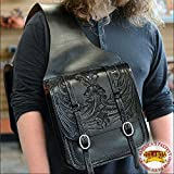 HILASON WESTERN BLACK HAND TOOL LEATHER SADDLE SHOULDER BAG