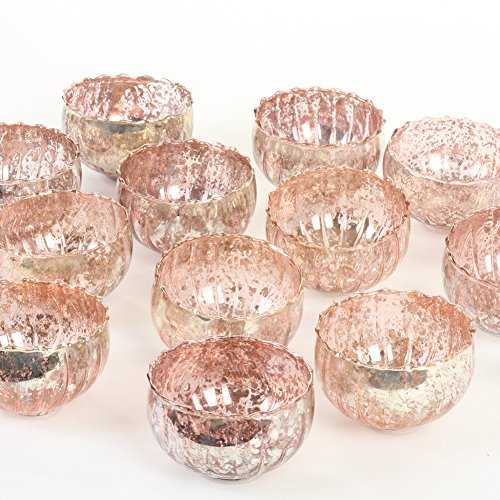 (Koyal Wholesale Vintage Pink Floating Tealight Candle Holders, 12-Pack, Petite Glass Candle Holders for Tealight Candles, Electric Candles, Battery Tealight Candles, Tealight Votives (Pink))
