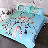 BlessLiving Big Dreamcatcher Colors Bedding, 3 Piece Dream Catcher Duvet Cover Set, Boho Doona Cover Hippie Bedspread Coverlet (King, Turquoise)