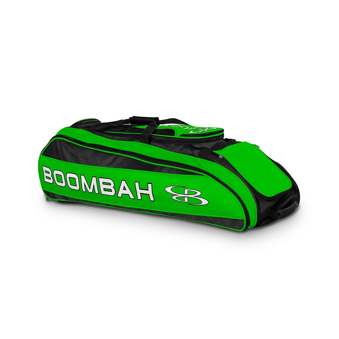 Boombah Beast Baseball/Softball Bat Bag - 40'' x 14'' x 13'' - Black/Lime Green - Holds 8 Bats, Glove & Shoe Compartments by Boombah (Image #1)