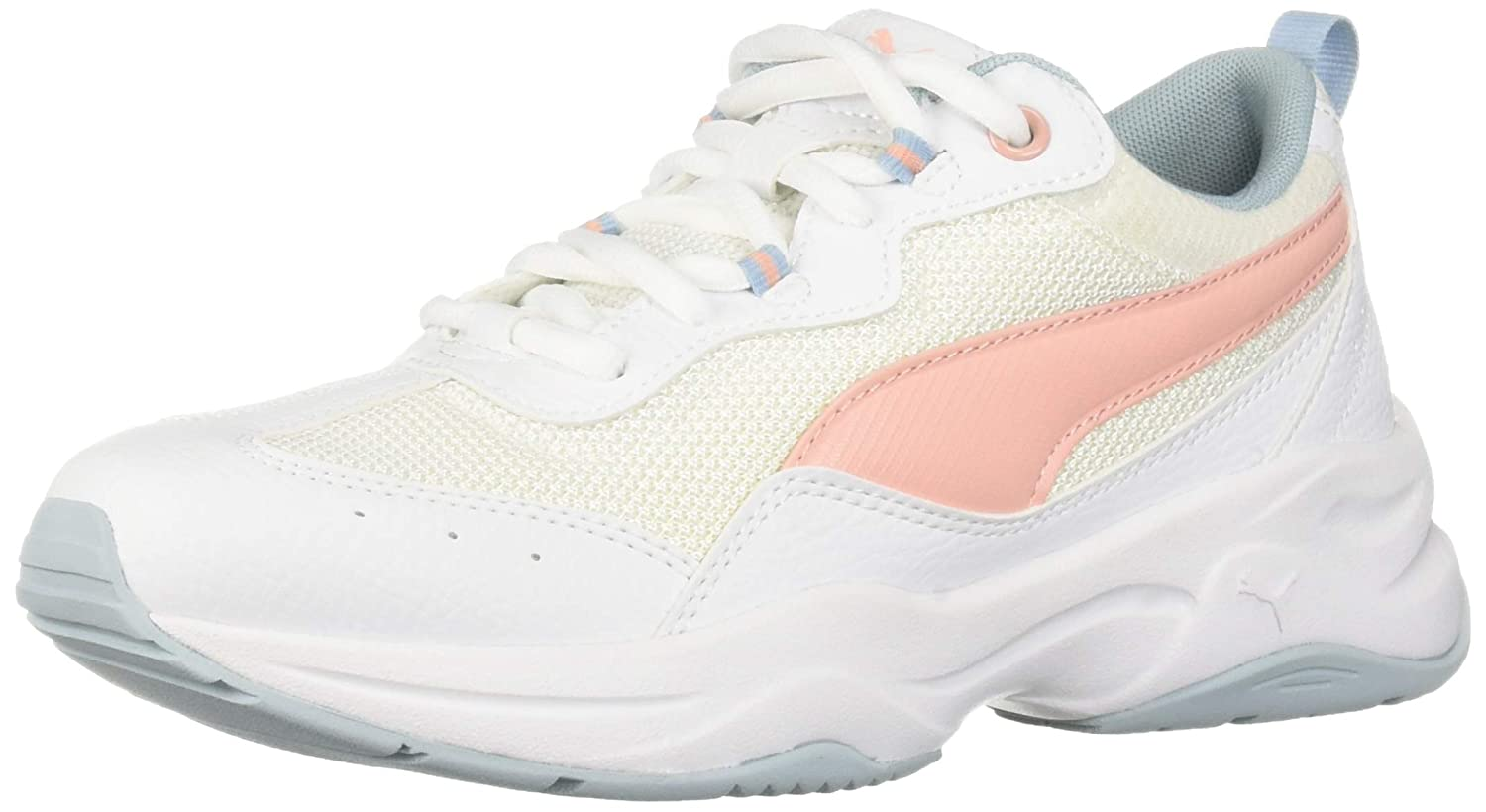 c0aa8b792e3 PUMA Women's Cilia Sneaker, White-Peach Bud-Light Sky, 7 M US