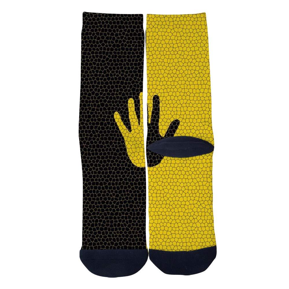 Yellow and Black Hands Socks Mens Womens Casual Socks Custom Creative Crew Socks