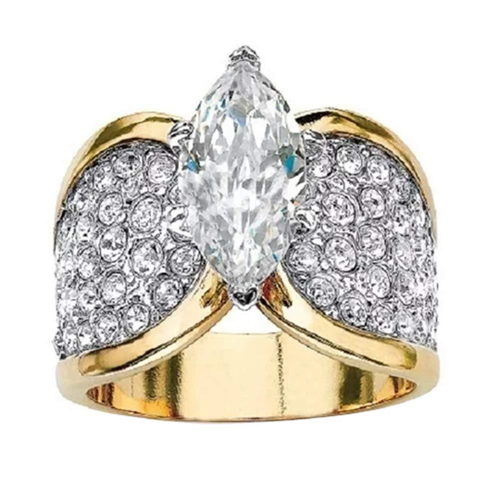 Slendima Fashion Marquise Cut Shiny CZ Cubic Zirconia Finger Ring Women Wedding Anniversary Jewelry Gift US 8