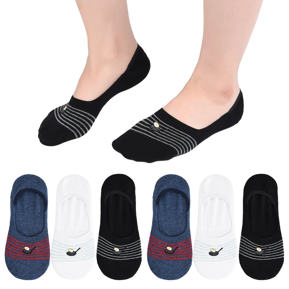 VBIGER No Show Socks Womens Casual Low Cut Invisible Socks with Silicone Heel Grip and Embroidery Pattern