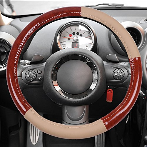 (cciyu Steering Wheel Cover Universal 15 Inch Leather Beige and Brown Wood Grain Auto Steering Wheel Cover)
