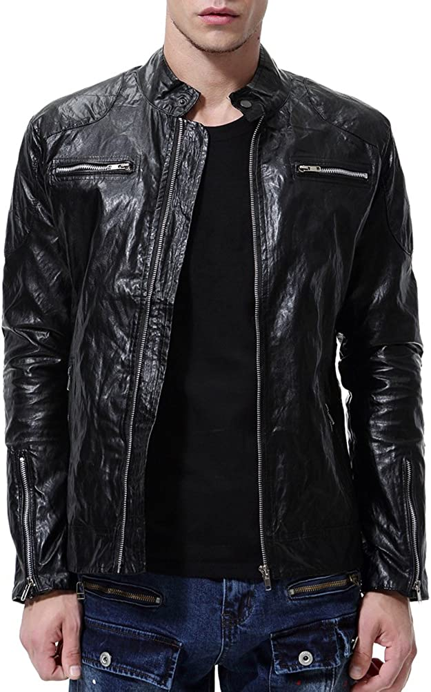 AOWOFS Mens Punk Faux Leather Jacket Coat Black Stand Collar Casual Motorcycle Biker