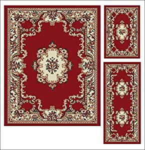 Abrahami Sultan 3 Piece Area Rug Set Claret Red Abuson Includes Area Rug Runner