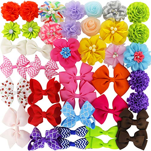 Grosgrain Ribbon Hair Bows Boutique Flowers Clips For Girls Teens Kids Toddlers Set Of 40 -