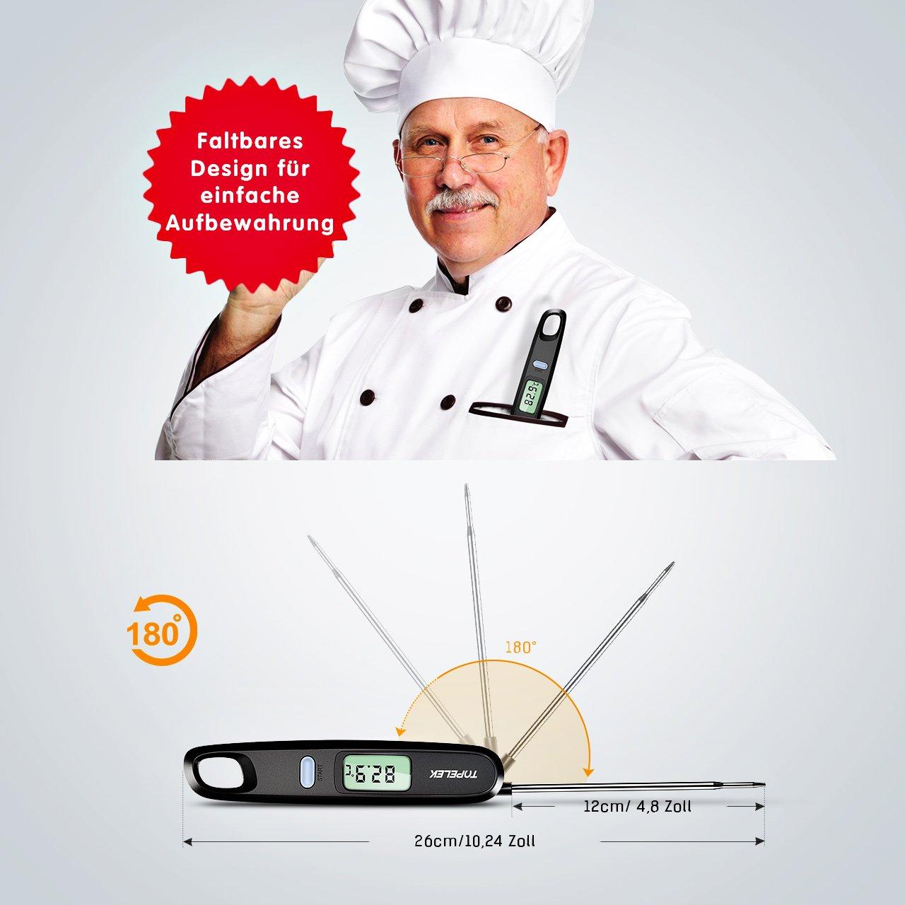 Kunststoff Habor Fleischthermometer Grillthermometer K/ücheThermometer Digital Thermometer Einfach zu lesender Bildschirm 4.8 Zoll Lange Edelstahl Sonde Ideal f/ür BBQ Milch K/üche Grill