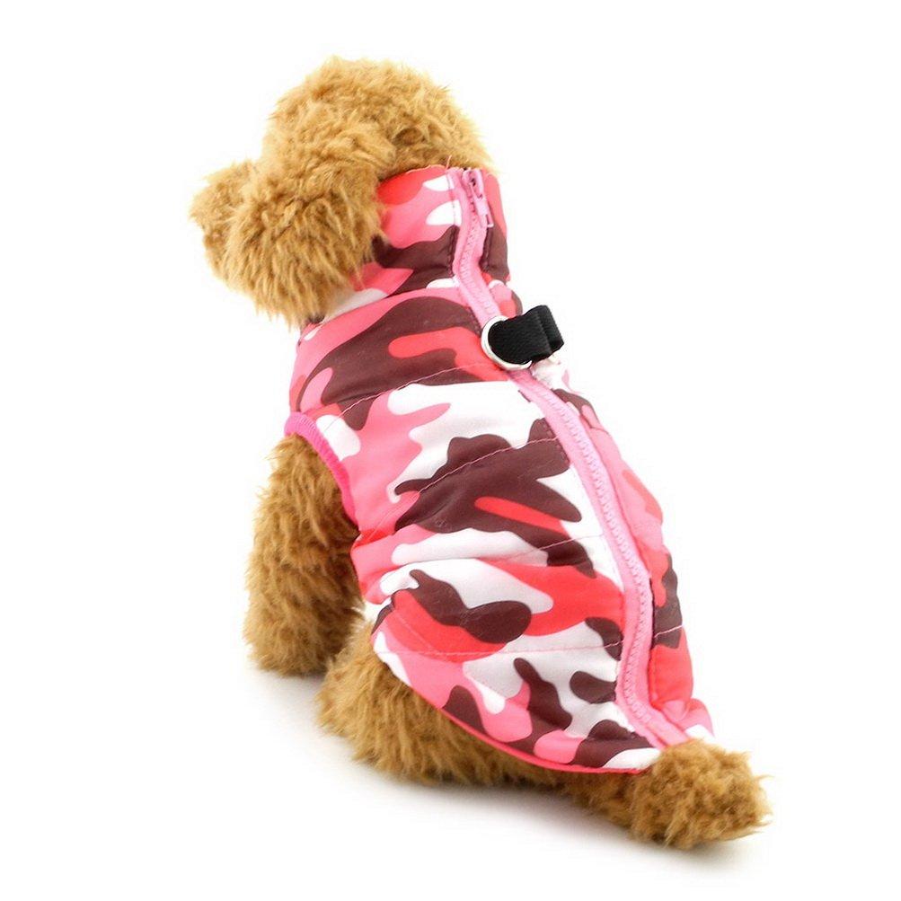 Zunea Small Pet Dog Cat Soft Harness Vest Padded Jacket Zipper Closure Pink Camo Size L