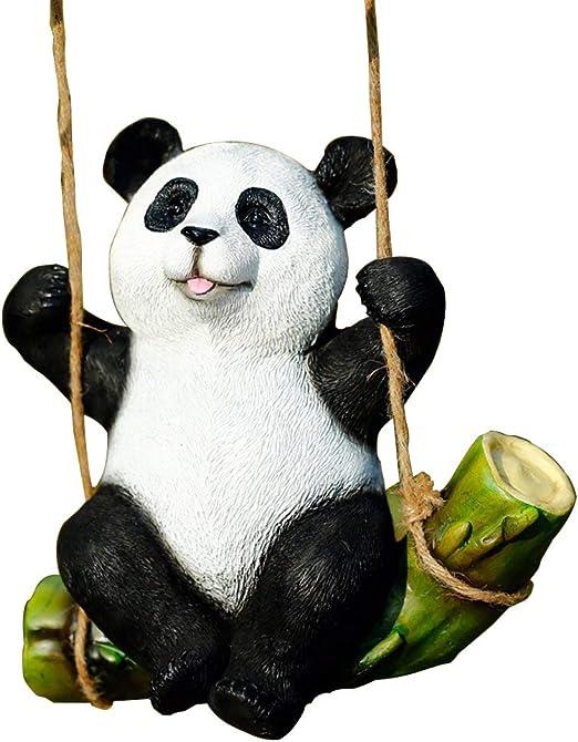 Huiju Statue De Jardin Noir Et Blanc Panda Swing Sur Le