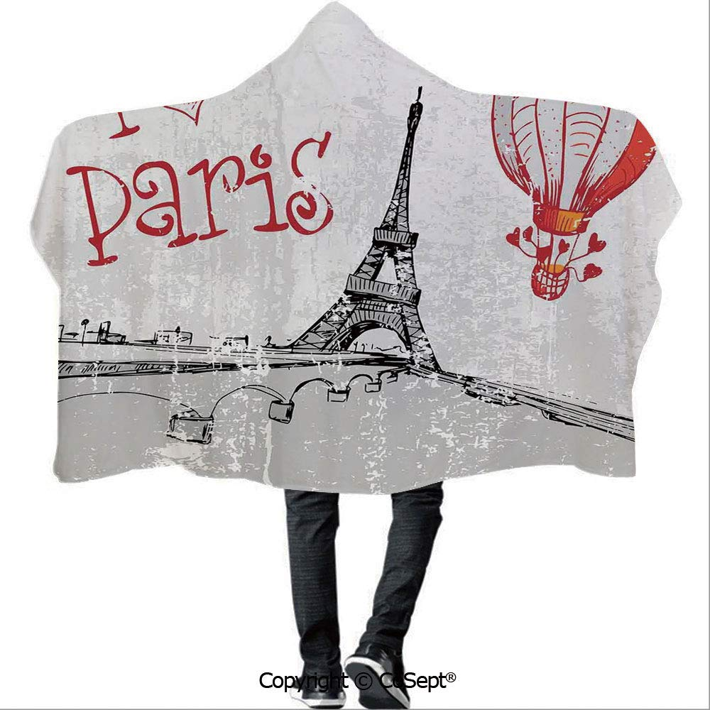 AmaUncle Polyester Hooded Blankets,I Love Paris Romance Hot Air Balloon with Hearts Doodle Style Print Image,Warm Cozy Throw Blanket (59.05x78.74 inch),Red Black Gray