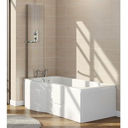 Lockwood Rh Easy Access 1675mm P Shaped Bath Inc Screen Front Panel