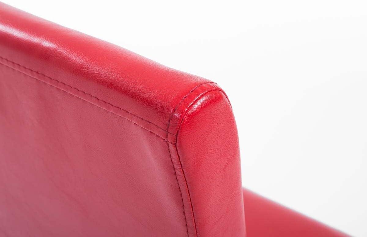 CLP Set De 6 Sillas De Comedor Ina En Cuero Sintético I Pack De 6 Sillas De Cocina con Base De Madera Natural I 6 Sillas Acolchadas I Color: Negro Rojo rtg48c