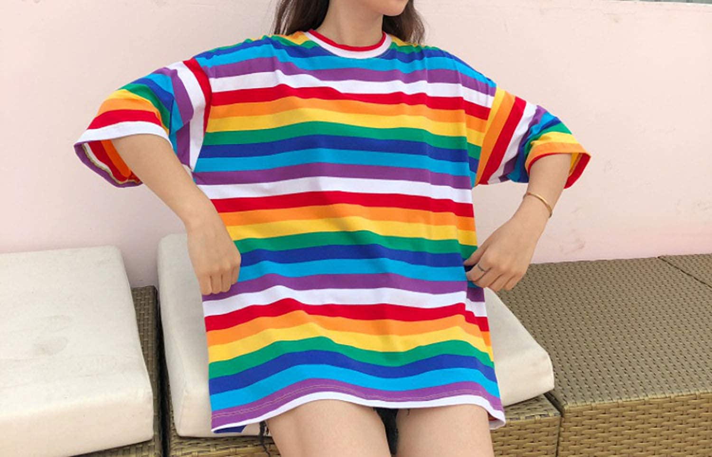 Men Rainbow Striped T Shirt Baggy Oversize Harajuku Tee Tops Hip Hop Casual Soft