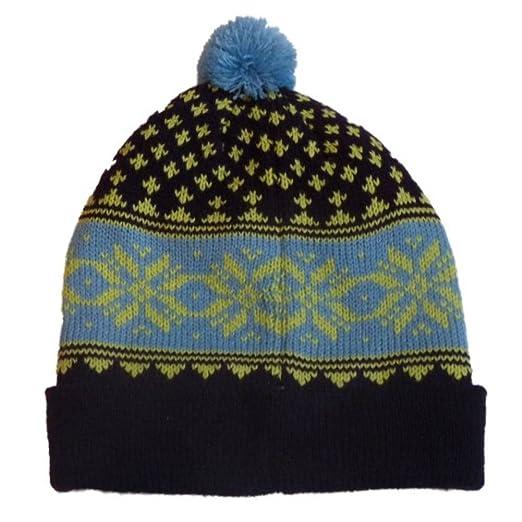 6bdbf5a99 Amazon.com: Aquarius Boys Nordic Blue & Purple Snowflake Beanie Pom ...