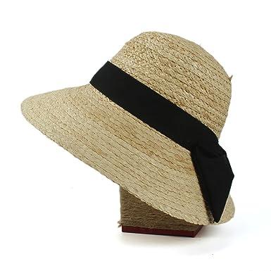 f156512c88a6d Women s Raffia Straw Sun Hat Summer Elegant Wide Brim Visor Beach Sunbonnet Caps  Style (Color